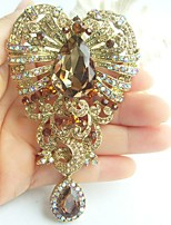 Women Accessories Gold-tone Topaz Rhinestone Crystal Flower Brooch Art Deco Crystal Drop Brooch Bouquet Women Jewelry
