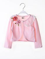 Girl's Cotton Sweet Flower Micro-elastic Thin Long Sleeve Short Coats