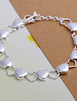 Siver Plated Heart Pattern Copper Chain Bracelet