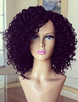 Glueless Full Lace Wig 100% Brazilian Human Hair Wig Kinky Curly 8-16inch Natural Color Virgin Hair