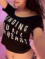 Women's Sexy Casual Micro-elastic Short Sleeve Short T-shirt (Cotton)