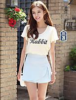 Women's Casual Cute Plus Sizes Inelastic Short Sleeve Regular Blouse (Chiffon)