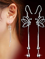 Women's Silver Drop Earrings With Butterfly Tassel