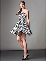 ts couture cocktailparty klänning - skriva ut ett-line axelbandslös knälång satin