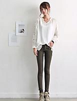 Women's Sexy Casual Lace Long Sleeve Regular Blouse (Chiffon Lace Cotton)
