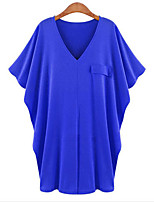 Women's Sexy/Casual/Plus Sizes Two Ways Wear Stretchy Short Sleeve Long T-shirt (Cotton/Elastic/Cotton Blends)