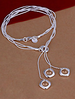 Fashion Square Shape Pendant Silver Plated Snake Chain Necklace(White)(1Pc)
