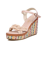 Chaussures Femme Similicuir Talon Compensé Compensées/Talons/A Plateau/Confort/Bout Ouvert Sandales Décontracté Vert/Rose