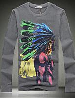 Masculino Camiseta Casual / Escritório / Formal / Esporte / Tamanhos Grandes Estampado Algodão Manga Comprida Masculino