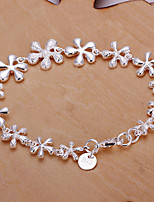 Siver Plated Floral Copper Chain Bracelet