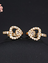 KuNiu Women's 18K Gold Plated Double Heart With Swiss Cubic Zircon Drop Hoop Earrings ER0054