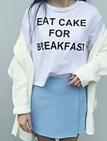Women's Letter/Solid White/Black T-shirt , Round Neck Short Sleeve