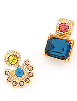 Women's Fashion Sweet Asymmetric Shiny Flower Stud Earrings With Rhinestone