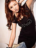 Women's Sexy Casual Lace Micro-elastic Short Sleeve Long T-shirt (Cotton)