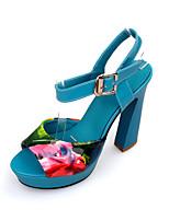 Women's Shoes Leatherette Chunky Heel Peep Toe/Platform Sandals Party & Evening/Dress Blue/Beige