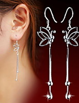 925 Women's Silver Long Butterfly Drop Earrings