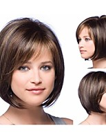 Woman's Vogue Brown With Highlights Straight Short Synthetic Wigs