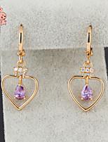 KuNiu Women's Vintage 18K Gold Plated Austrian Three Color Drop Heart Earrings ER0185