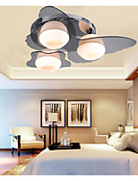 Flush Mount, LED 3 Lights, Modern Fashion Contracted White Stainless Steel  Metal