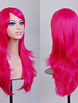 70 cm Long Curly Rose Red Hair Air Volume High Temperature Silk Wig