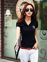 Women's Solid White/Black T-shirt , Casual Shirt Collar Short Sleeve
