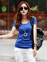 Women's Solid Blue/Red/White/Black T-shirt , Casual Round Neck Short Sleeve