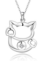 Cremation Jewelry 925 sterling silver Lovely Lucky Cat with Zircon Pendant Necklace for Women