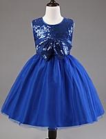 Girl's Fashion Beauty Big Bow Sleeveless Sequins Princess Dress Tutu Dress Cute Gown Dress(Assorted Colors)