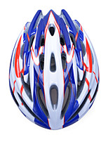 Unisex Fashion and High-Breathability PC + EPP Bicycle Helmet (32Vents) - Blue + Red + Silver