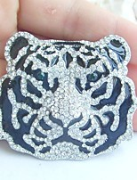 Women Accessories Silver-tone Clear Rhinestone Crystal Tiger Brooch Art Deco Crystal Brooch Women Jewelry