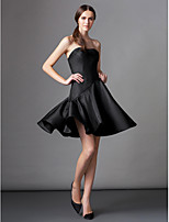 Cocktail Party Dress A-line Strapless Knee-length Satin with