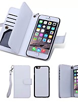 For iPhone 8 iPhone 8 Plus iPhone 6 iPhone 6 Plus Case Cover Wallet Card Holder Flip Full Body Case Solid Color Hard Genuine Leather for