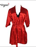 Burvogue Women's Sexy Lace Intimate Lingerie Sleepwear Satin Charmeuse Robe