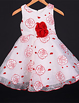 Girl's Cotton Blends Inelastic Medium Sweet Rose Print Sleeveless Dresses
