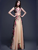 Dress A-line V-neck Floor-length Chiffon Dress