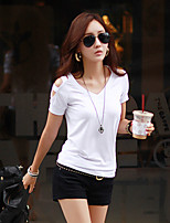 Women's Solid White/Black T-shirt , Casual V Neck Short Sleeve Hole