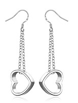 Concise Silver Plated Sweet Hollow Heart Shape Drop Earrings for Party Women Jewelry Accessiories