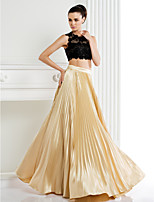 TS Couture® Formal Evening Dress A-line Jewel Floor-length Lace / Stretch Satin with Lace