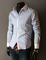 Camisa De los hombres Casual/Trabajo/Formal Un Color - Mezcla de Algodón - Manga Larga