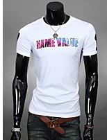 Men's Short Sleeve T-Shirt , Cotton Blend Casual/Work/Sport Print