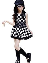 Summer Kids Girl's White Black Plaid Sleeveless Casual Dresses (Cotton Blends)