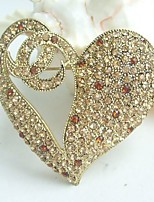 Women Accessories Gold-tone Topaz Rhinestone Crystal Love Heart Brooch Art Deco Crystal Brooch
