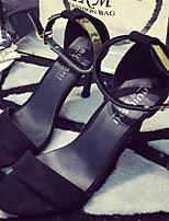 Zapatos de mujer Semicuero Tacón Stiletto Punta Abierta Sandalias Vestido Negro/Gris