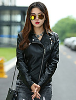 Women's Solid Black Jackets , Casual Shirt Collar Long Sleeve Rivet