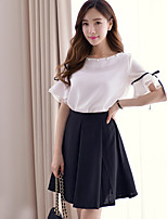 xiw&F Women's Casual/Cute/Party/Work Ruffle Petal  ½ Length Sleeve  Blouse And Skater Skirts Suits (Chiffon)