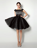 Cocktail Party Dress - Black Ball Gown Bateau Short/Mini Tulle