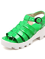 Women's Shoes Patent Leather Wedge Heel Wedges/Slingback Sandals Dress/Casual Black/Green/White