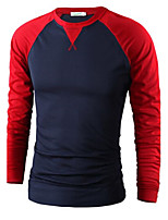 Men's Casual Color Mosaic Long Sleeve T-Shirt