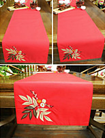 Brief Fashion Flower Applique Embroidered Red Christmas Table Runner