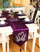European Style High Quality Luxurious Velvet Swan Rhinestone Table Runner (13